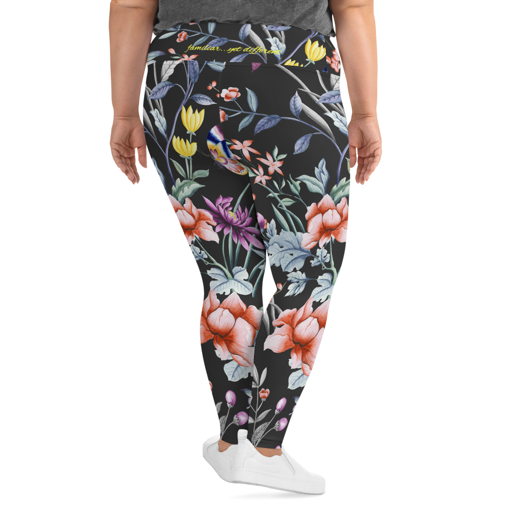 plus size woman wearing black chinoiserie floral print leggings