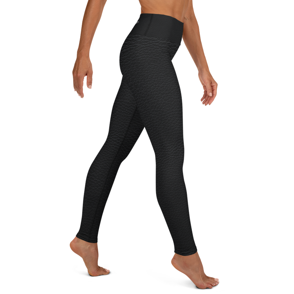 Fit Model wearing cracked leatherette black high-waisted leggings