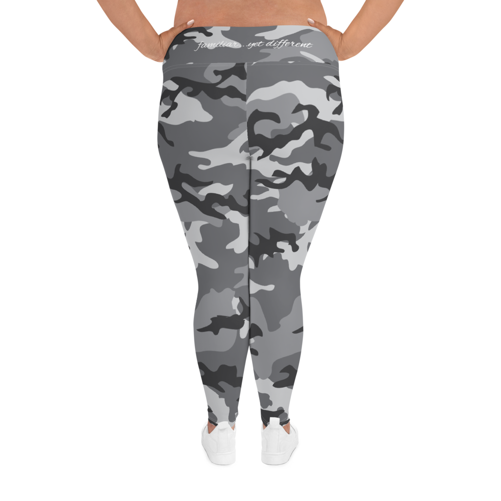Plus Size grey camouflage print yoga pants leggings