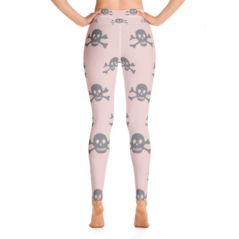 grey skull & crossbones printed on pink yoga pants leggings