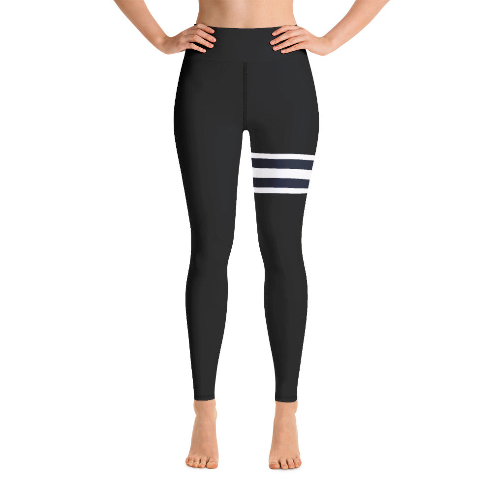 [yoga pants_high-waisted] - familiar...yet different solid black leggings with thigh high athletic stripes