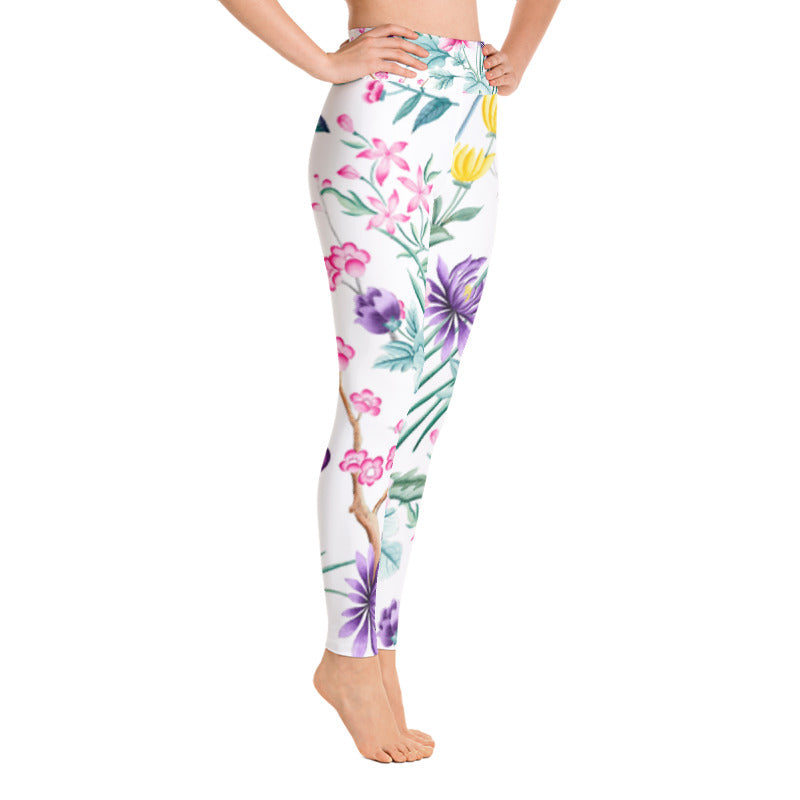 white floral chinoiserie print yoga pants leggings