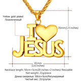 "18kt Gold Plated Stainless Steel ""I Love Jesus"" Necklace"
