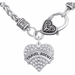 Clear Crystal Heart Travel Agent Necklace