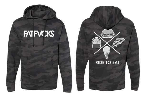 FATFVCKS RIDE TO EAT BLACK CAMO HOODIE LIMITED EDITION