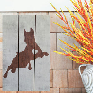 Rustic Doberman Pinscher Silhouette Sign
