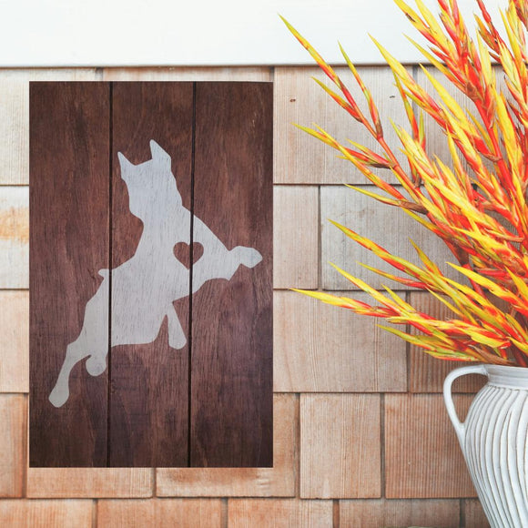 Rustic Doberman Pinscher Silhouette Painted Sign