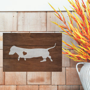 Dachshund Silhouette Painted Sign - Stained