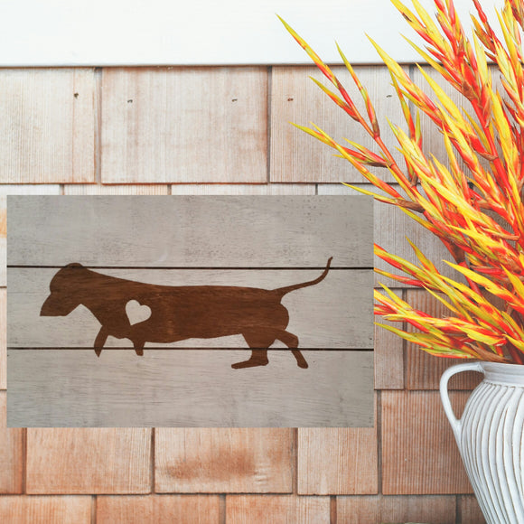 Dachshund Silhouette Painted Sign - White