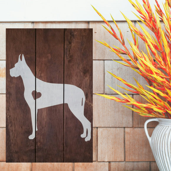 Great Dane Silhouette Painted Sign - Stained