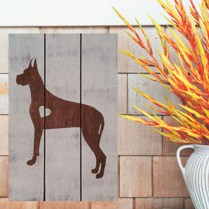 Great Dane Silhouette Painted Sign - White