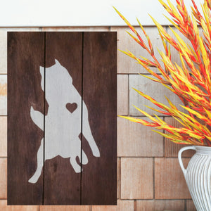 Husky Silhouette Painted Sign - Stained