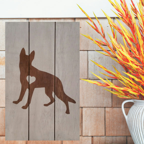 German Shepherd Silhouette Painted Sign - White