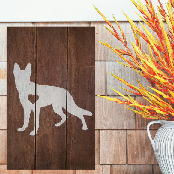 German Shepherd Silhouette Painted Sign - Stained