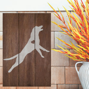 Golden Retriever Silhouette Painted Sign - Stained