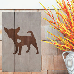 Chihuahua Silhouette Painted Sign - White