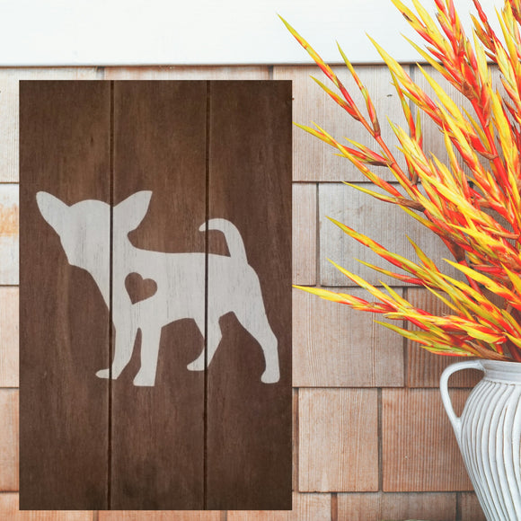 Chihuahua Silhouette Painted Sign - Stained
