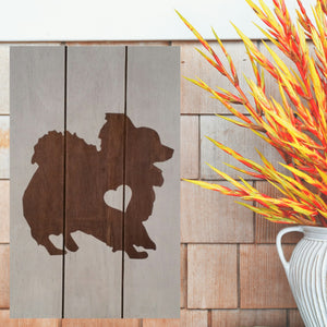 Pomeranian Silhouette Painted Sign - White
