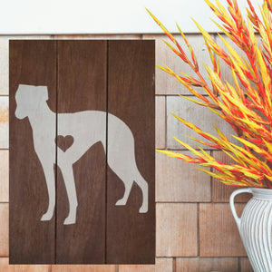 Greyhound Silhouette Painted Sign - Stained