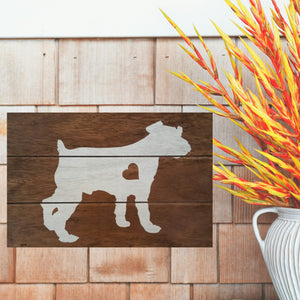 Miniature Schnauzer Silhouette Painted Sign - Stained