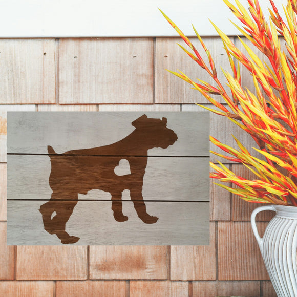 Miniature Schnauzer Silhouette Painted Sign - White