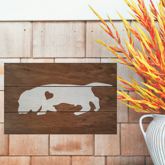 Bloodhound Silhouette Painted Sign - Stained