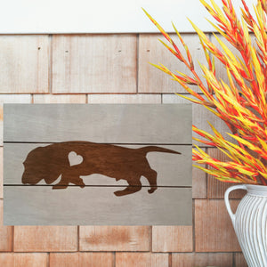 Bloodhound Silhouette Painted Sign - White