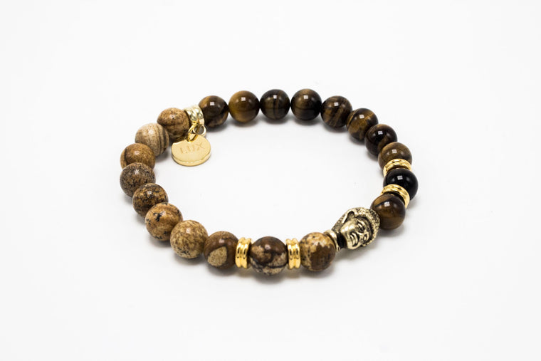 Jasper and Classic Tiger Eye Golden Lux Buddha Head