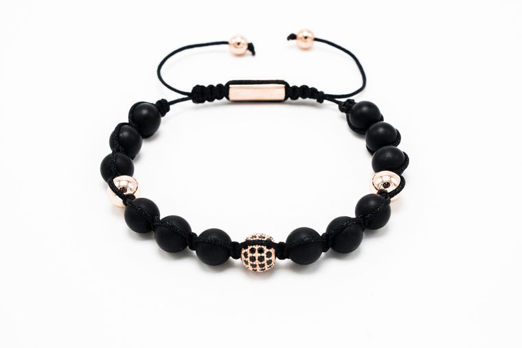 Matte Onyx and Lux Rose Gold Plated Shamballa