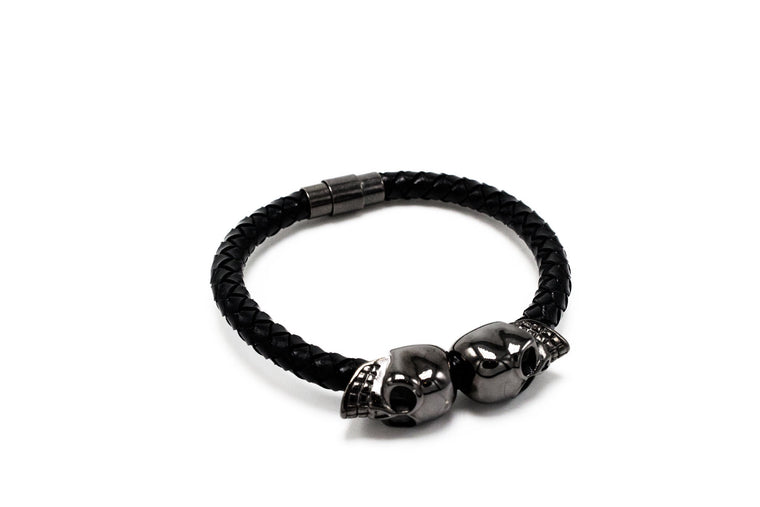 Black Lux Skull Leather Bracelet
