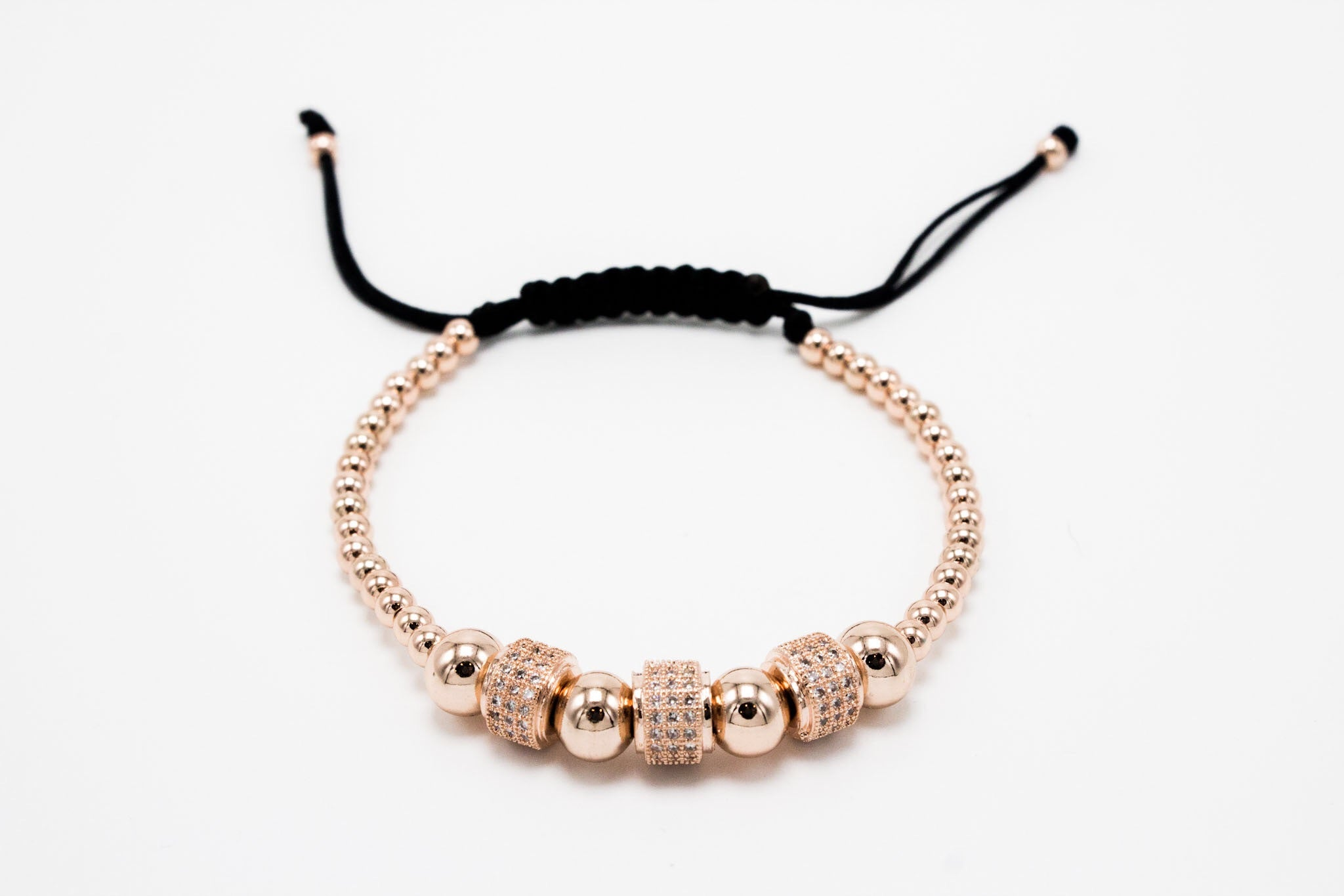 Rose Gold Plated LUX Tri Roundlettes Macrame