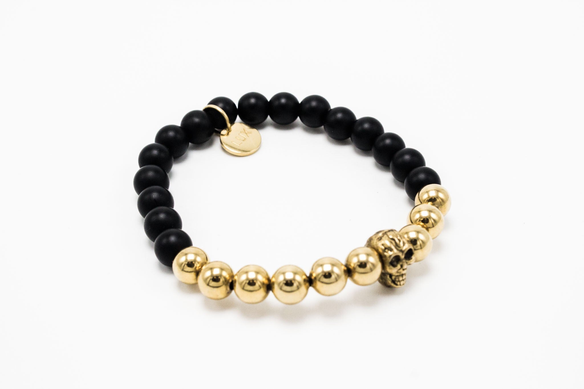 Matte Onyx Lux golden beads