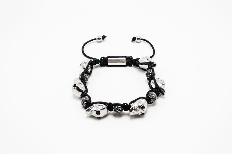 Silver Skulls and Disco Ball Shamballa