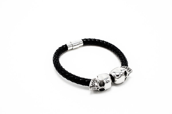 Silver Lux Skull Leather Bracelet