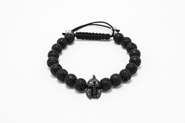 Lava Stone Black Rhodium Lux Gladiator Head