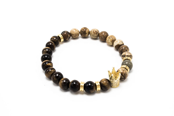 Brown Tiger eye and Earth Stone Jasper Golden Lux Crown