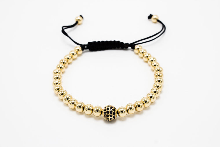 6mm Lux golden with Solo Disco Ball Macrame