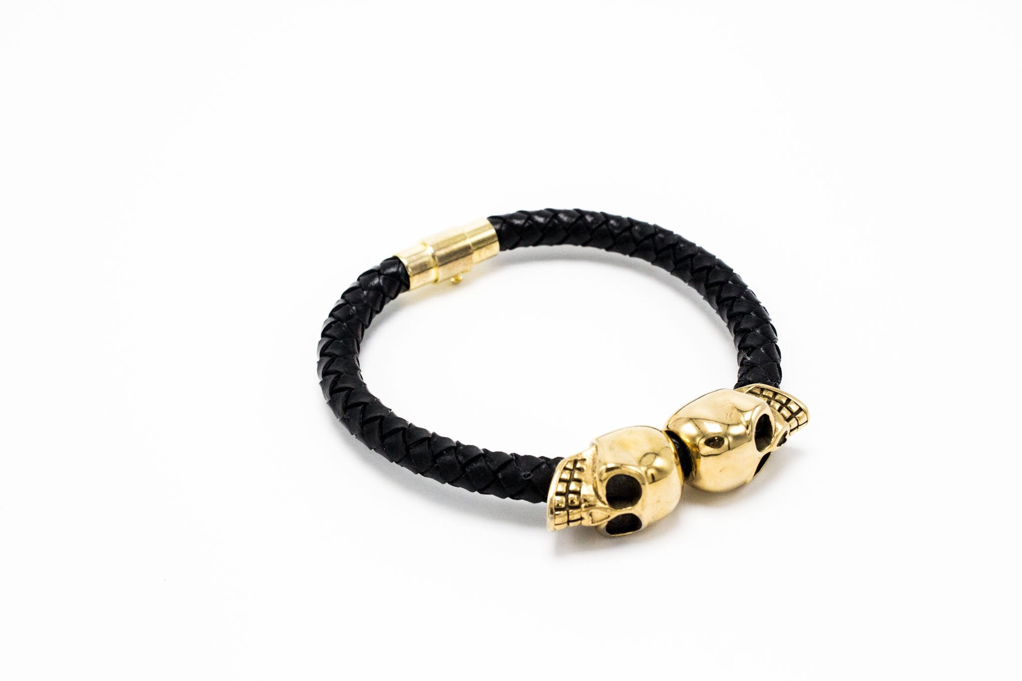 Golden Lux Skull Leather Bracelet