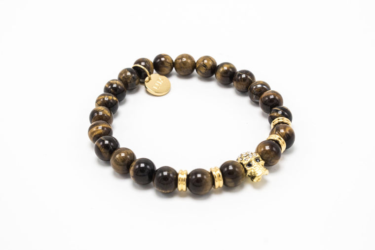 Brown Tiger Eye Gold Lux Skull