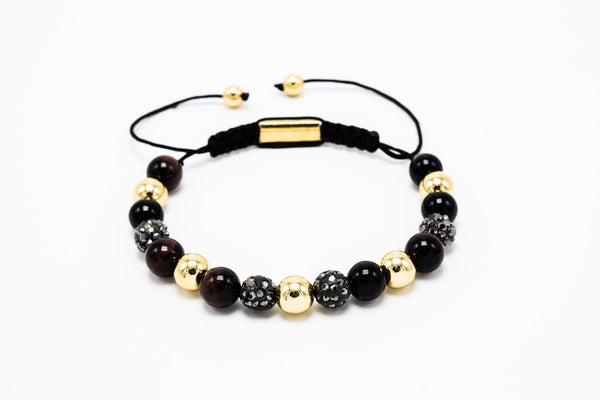 Red Tiger eye, Lux Gold beads, Grey Stone Disco Macrame