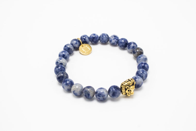 Light Blue Semi Precious Golden Lux Leo