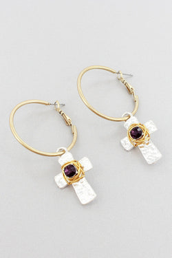 GOLDTONE WITH AMETHYST CRYSTAL WIRE-WRAPPED SILVERTONE CROSS HOOP EARRINGS