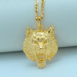 Gold Wolf Pendant Necklace for Women/Men