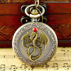 Dragon Quartz Pocket Watch With Chain - FREE SHIPPING