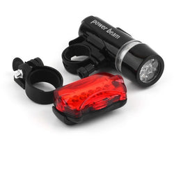 Set of Waterproof Bike Light 5 LEDs Bicycle Front Head Light and Rear