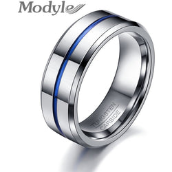 2017 Fashion Thin Blue Line 8 mm Tungsten Carbide Ring