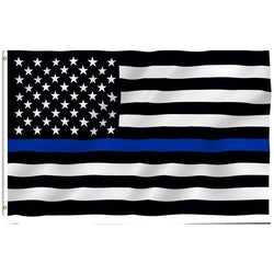 3ft x 5ft Thin Blue Line USA Flag Black, White And Blue line Flag With Grommets - FREE SHIPPING