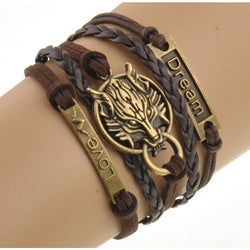 Wolf Style Brown Rope Bracelet