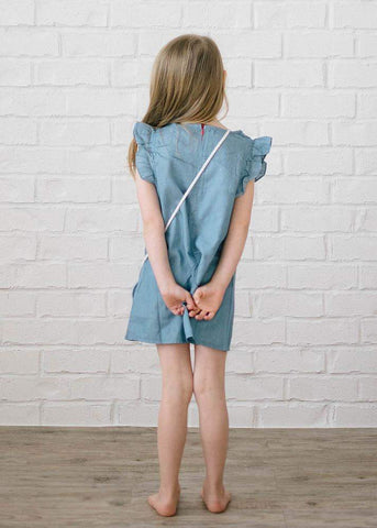Chambray Ruffle Sleeve Dress with Mouse Purse
