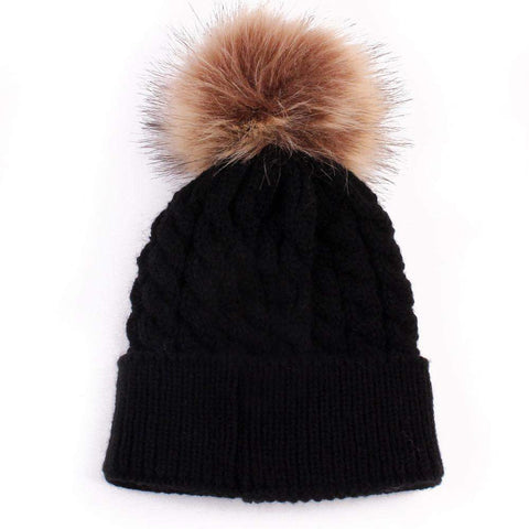 Bobble Pom Faux Fur Knitted Beanie